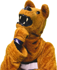 The nittany lion in a thoughtful pose as he considers his degree options