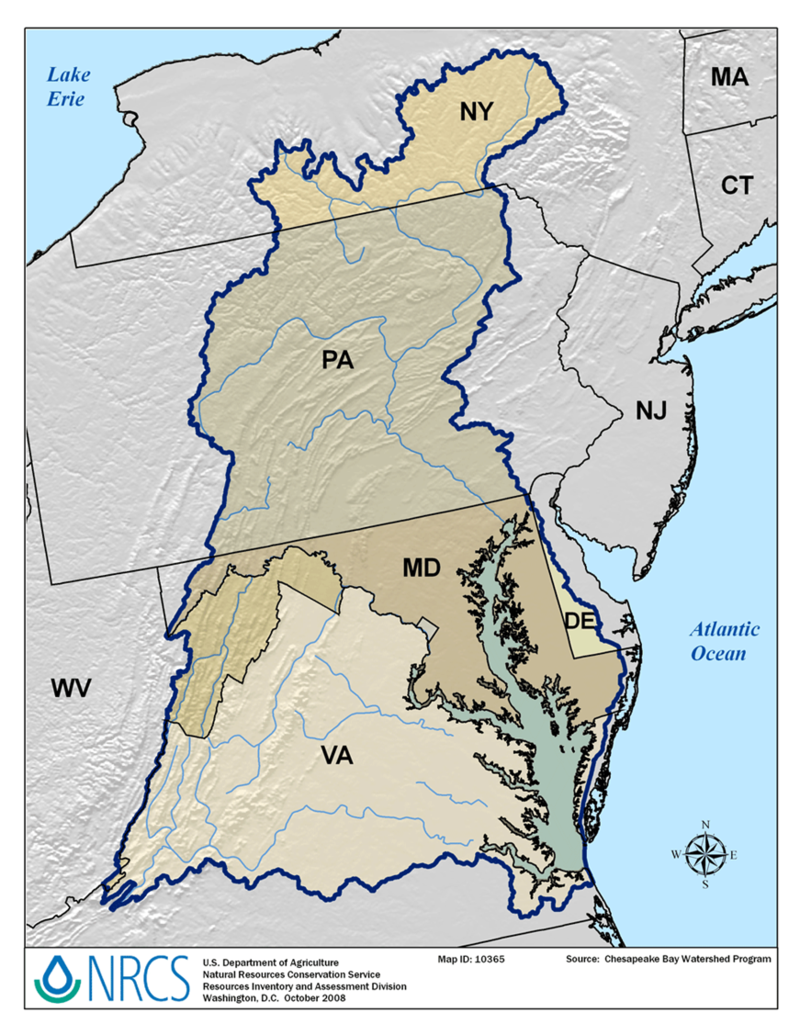 Map of the Chesapeake Bay area in New York, Pennsylvania, Virginia, Delaware, and Maryland. Map source: Chesapeake Bay Watershed Program