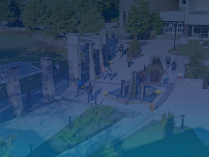 Aerial shot of students walking on Penn State Berks campus