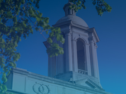 The bell tower of Old Main on Penn State University Park