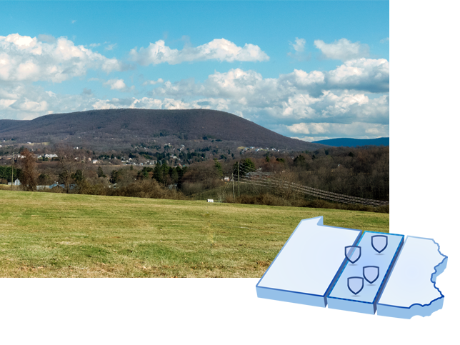 A collage of a map of Pennsylvania and a photo of Mt. Nittany