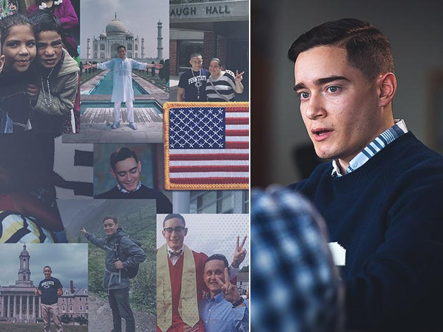 A collage of photos of Penn State student Josh Maldonado-Santiago's travels on the left and a portrait of Josh on the right.