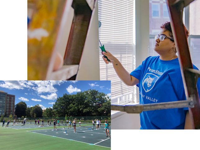 A collage of two photos: on the left, students in masks join together for an outdoor yoga session. On the right, a Penn State Lehigh Valley student paints a wall for a community service project.