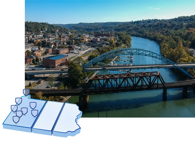 A collage of a map of Pennsylvania and an aerial shot of McKeesport, PA
