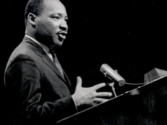 A photo of Dr. Martin Luther King Jr. speaking at Rec Hall on the University Park campus at Penn State.