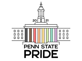 An image of the Old Main where the columns are different shades of the rainbow. Text on the image reads: 2021 Penn State Pride