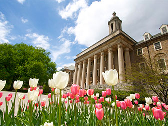 A photo of Old Main with pink and white tulips in the foreground