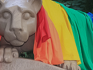 A photo of a rainbow flag draped over the Lion Shrine